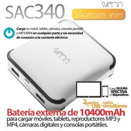 Sveon SAC340 - Batería Externa y portátil de 10400mAh para cargar tablets y smartphones