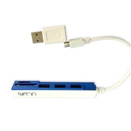 SCT031_02 BLANCO Y AZUL hub Micro USB OTG con lector de tarjetas integrado y adaptador USB para P