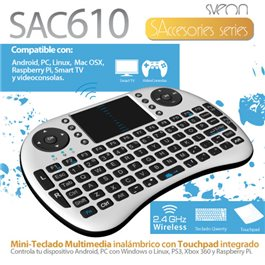 Mini Teclado Wireless con TouchPad para Android SAC610