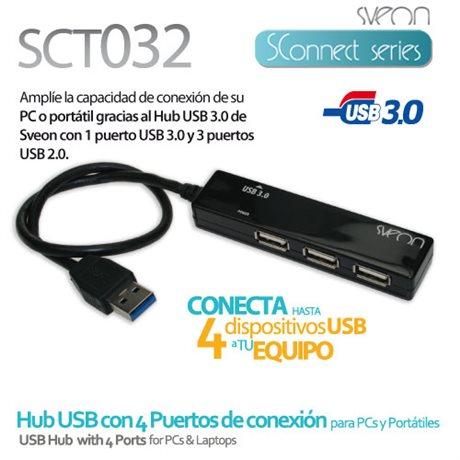 Hub USB 3.0 con 4 puertos de conexión Sveon SCT032