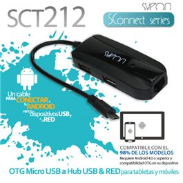 Cable Micro USB OTG a Hub USB y Red RJ45 Sveon SCT212