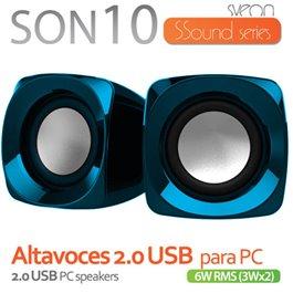 SON10_02 ALTAVOCES 2.0 USB 3Wx2 NEGRO/AZUL