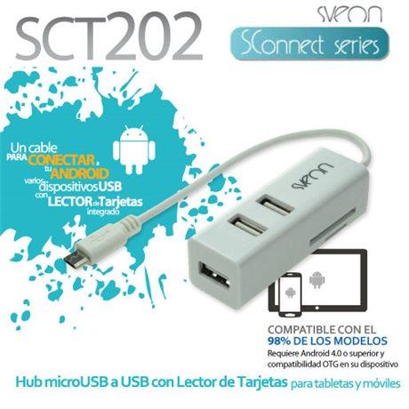 Hub Micro USB OTG con lector de tarjetas Sveon SCT202