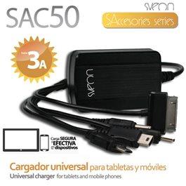 Sveon SAC50 - Cargador con 3 Puertos USB para Móviles, Tablets, Powerbanks, Cámaras