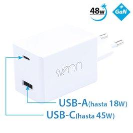 Sveon SAC248 - Cargador GaN USB Tipo C de 48w para portátiles, ultrabooks, tablets y smartphones