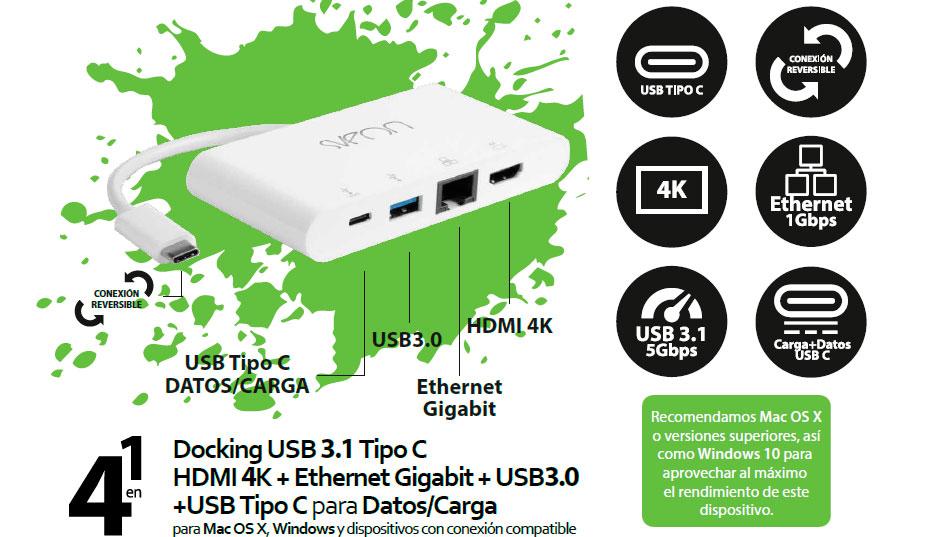 Docking USB Tipo C con Gigabit Ethernet, HDMI 4K y Puerto USB Tipo C de carga y datos